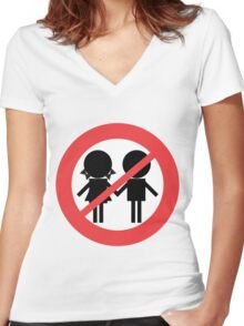 Children Banned Women's Fitted V-Neck T-Shirt