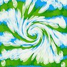 Groovy Green Blue Swirl by donnagrayson