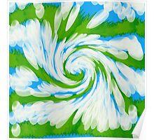 Groovy Green Blue Swirl Poster
