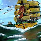 Columbus' Sailing Ships by WhiteDove Studio kj gordon
