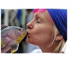 kissing fish Poster