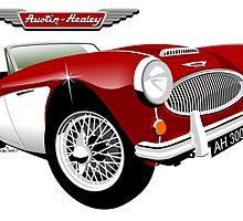 Austin Healey 3000 red/white by car2oonz
