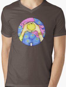 Heart Moon Mens V-Neck T-Shirt