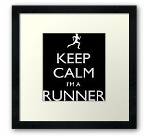 Keep Calm I'm A Runner - Tshirts, Mobile Covers and Posters Framed Print