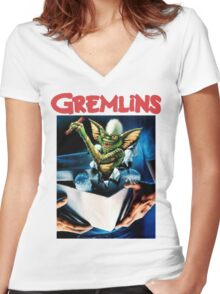 Gremlins Shirt! Women's Fitted V-Neck T-Shirt