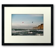 Kite boarding in high winds under the bluffs Framed Print