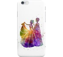 Elsa The Snow Queen and Anna in watercolor iPhone Case/Skin