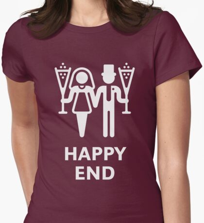 Happy End (Wedding / Marriage / Champagne / White) Womens Fitted T-Shirt
