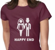 Happy End (Wedding / Marriage / Bridal Pair / White) Womens Fitted T-Shirt