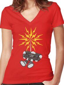 "8 Bit Buzz Bot v2.0.1 ""GearRoid"" Women's Fitted V-Neck T-Shirt"