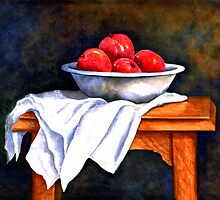 WHITE BOWL AND APPLES by Mary  Lawson
