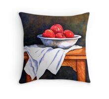WHITE BOWL AND APPLES Throw Pillow