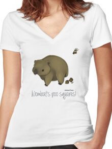 Animal Facts Australia - Wombat Women's Fitted V-Neck T-Shirt