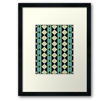 Blue And Green Diamond Pattern Framed Print