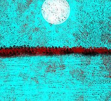 Land and Moon in Aqua and Red by Jessielee72
