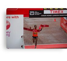 Tigist Tufa , the women's winner of the Virgin money London Marathon Canvas Print