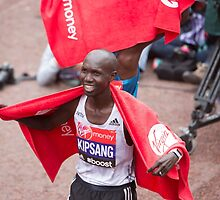 Eliud Kipchoge (KEN) at the finish line at the Virgin money London Marathon by Keith Larby