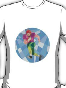 American Football Player Running Low Polygon T-Shirt