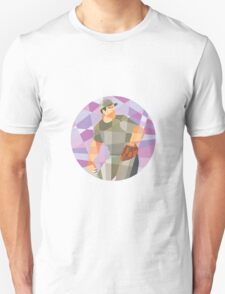 American Baseball Pitcher Throwing Ball Low Polygon T-Shirt