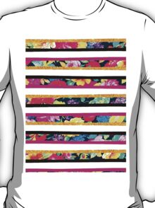 Neon floral pattern pink gold glitter stripes T-Shirt