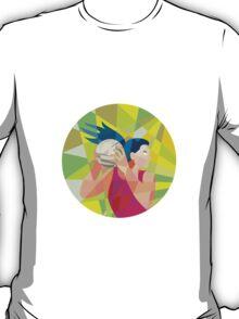 Netball Player Ball Rebound Low Polygon T-Shirt