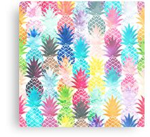 Hawaiian Pineapple Pattern Tropical Watercolor Metal Print