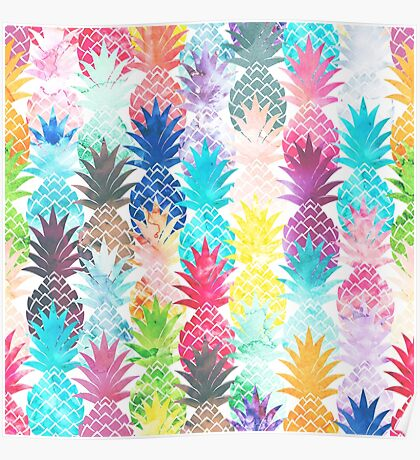 Hawaiian Pineapple Pattern Tropical Watercolor Poster