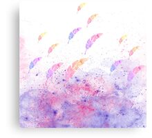 Abstract Watercolor Feathers Pink Blue Splatters  Canvas Print
