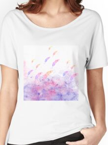 Abstract Watercolor Feathers Pink Blue Splatters  Women's Relaxed Fit T-Shirt
