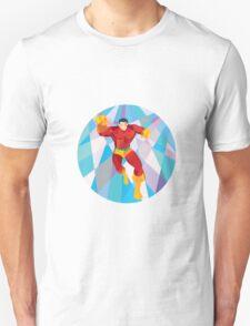 Superhero Running Punching Low Polygon T-Shirt