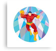 Superhero Running Punching Low Polygon Canvas Print