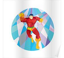 Superhero Running Punching Low Polygon Poster