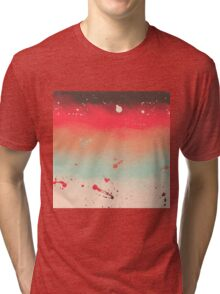 Autumn Stripes Watercolor Abstract Splatters Tri-blend T-Shirt