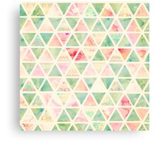 Abstract Triangles Pattern Pink Turquoise Tie dye  Canvas Print