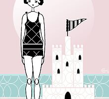1920s Flapper Gatsby Girl Beach Sand Castle  by CecelyBloom