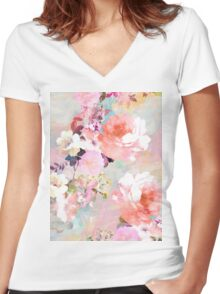 Romantic Pink Teal Watercolor Chic Floral Pattern Women's Fitted V-Neck T-Shirt