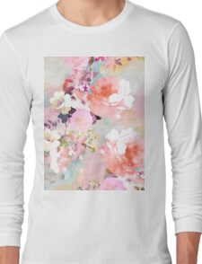 Romantic Pink Teal Watercolor Chic Floral Pattern Long Sleeve T-Shirt