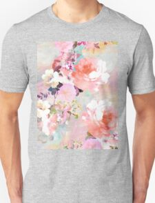 Romantic Pink Teal Watercolor Chic Floral Pattern Unisex T-Shirt