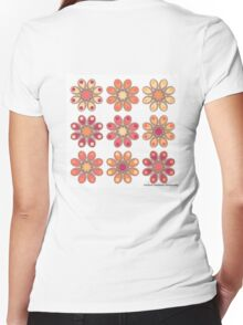Apricot Foot Flowers Women's Fitted V-Neck T-Shirt