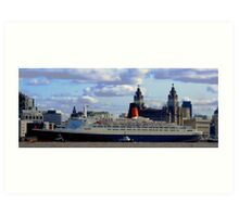 Qe2 at Liverpool 2008 Art Print