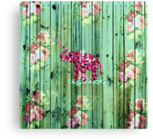 Flower Elephant Pink Sakura Green Striped Wood Canvas Print