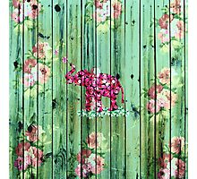 Flower Elephant Pink Sakura Green Striped Wood Photographic Print
