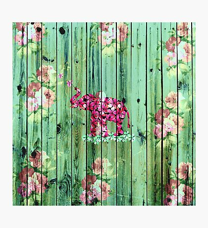 Flower Elephant Pink Sakura Green Striped Wood Photographic Print