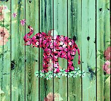 Flower Elephant Pink Sakura Green Striped Wood by GirlyTrend