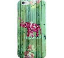 Flower Elephant Pink Sakura Green Striped Wood iPhone Case/Skin