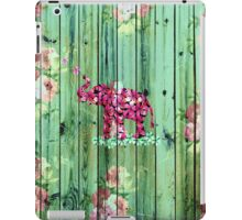 Flower Elephant Pink Sakura Green Striped Wood iPad Case/Skin