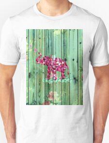 Flower Elephant Pink Sakura Green Striped Wood Unisex T-Shirt