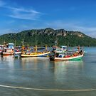 Thai Fishing Harbour by Adrian Evans