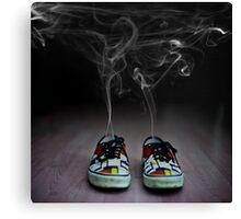 Cartoon explosion in sneakers Canvas Print