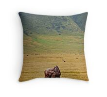 Lonely Wildebeest Throw Pillow